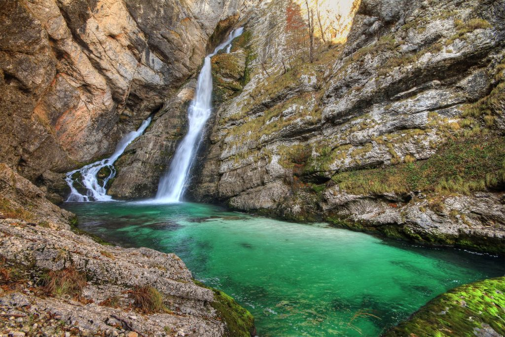 Waterfall Savica is one of the most popular waterfalls in Slovenia.
