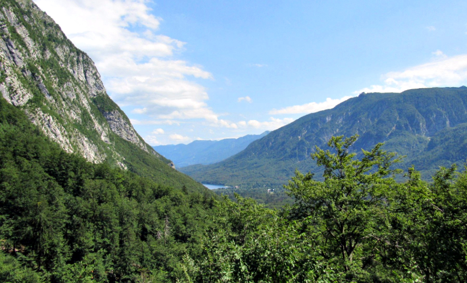 The views from a path to waterfall Savica offer views to lake Bohinj, Slovenia.