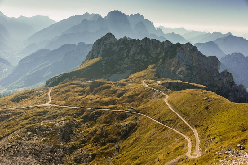 Mangart road, the highest road in Slovenia, is a great road trip destination.