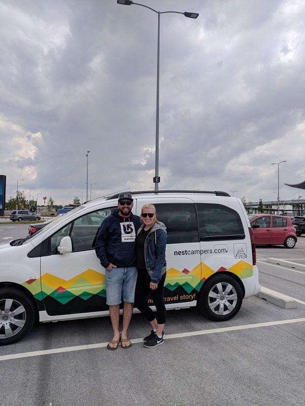Jordan Wilson and Carisa Rembowski road trip with a campervan