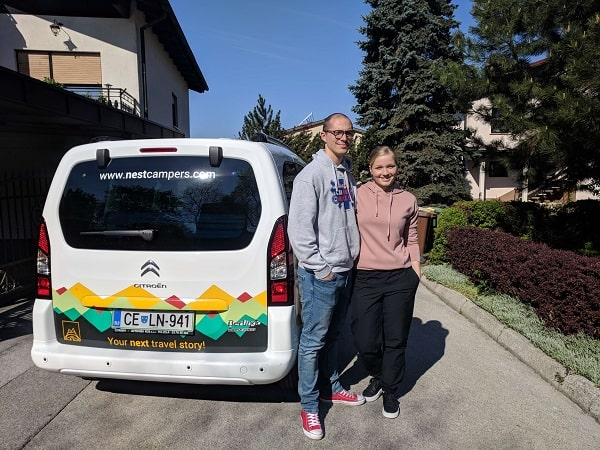 Kaja Vrhnjak and Nace Lednik on a campervan road trip