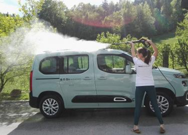Cleaning a campervan at Nestcampers