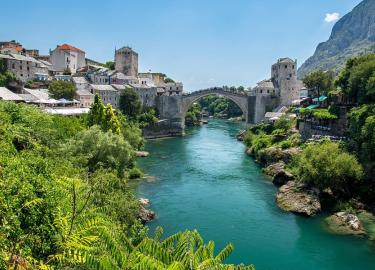 Mostar, bridge, campervan roadtrip through Bosnia