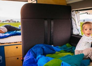 camping with kids in a campervan