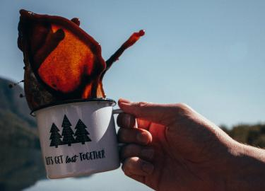 Coffee in a camping cup