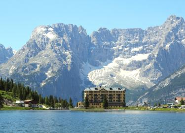 Lake misurina in the mountain scenary