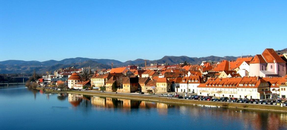 River Drava near city Maribor