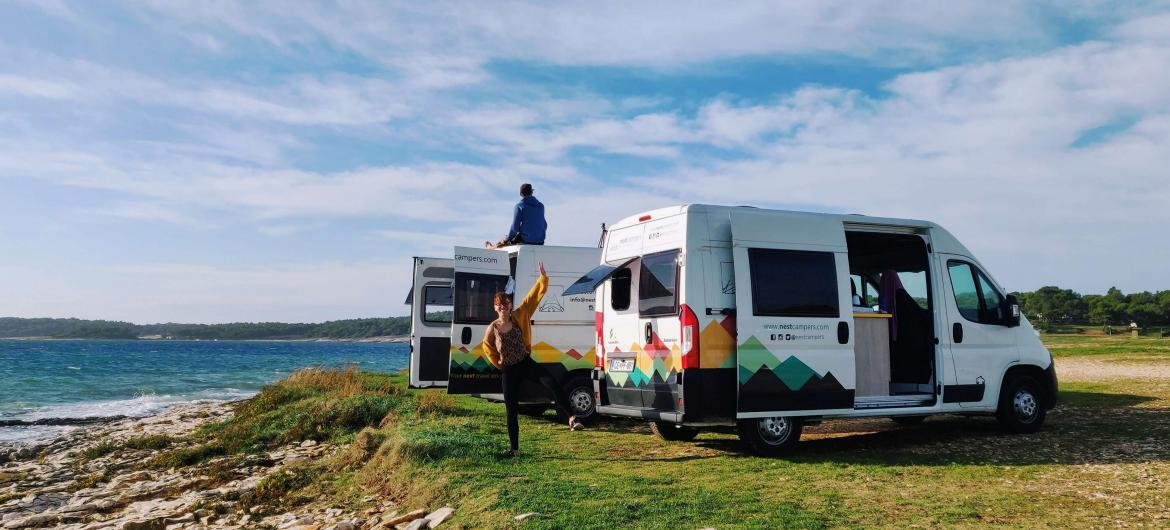 Two campervans at the resting spot