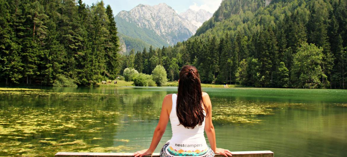 Nest Campers on a road trip in scenic Jezersko valley in eco friendly and green Slovenia.