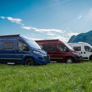 Blue, red and white campervan Falcon