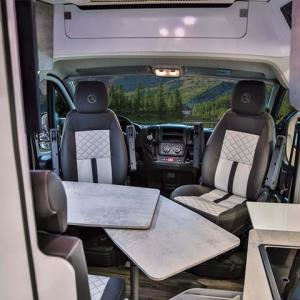 Inside view of campervan Falcon