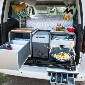 The trunk of a Nest campers campervan