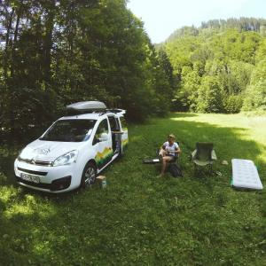 Cuckoo Campervan in the foresty area
