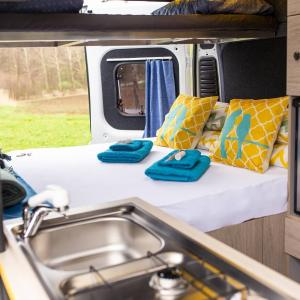 Inside setup of campervan stork