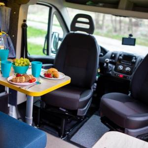 Adjustable seats inside campervan Stork