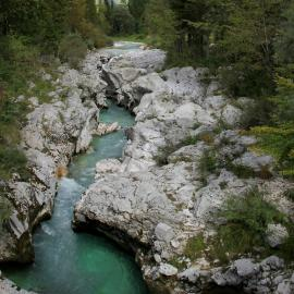 emerald river Soča at Lepena