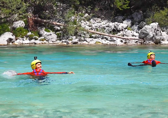 Activities in the water of river Soča