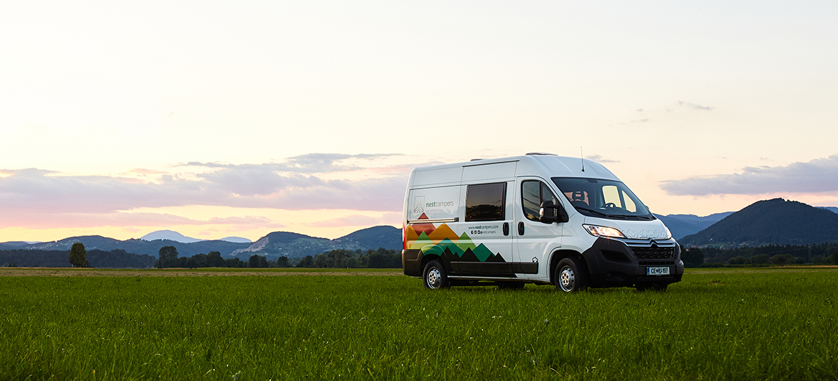 Campervan traveling in the evening