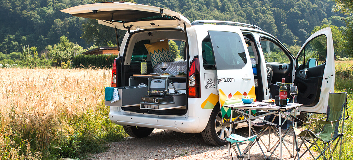 packing up for a road trip with a campervan