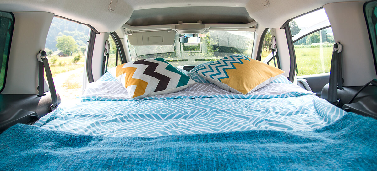 Bed of a campervan