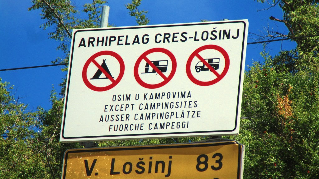 Wild camping is forbidden in Croatia and campsites are plentiful.